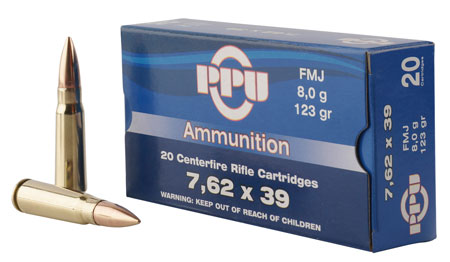 PPU 7.62X39 FMJ 123GR 20/1000 - for sale